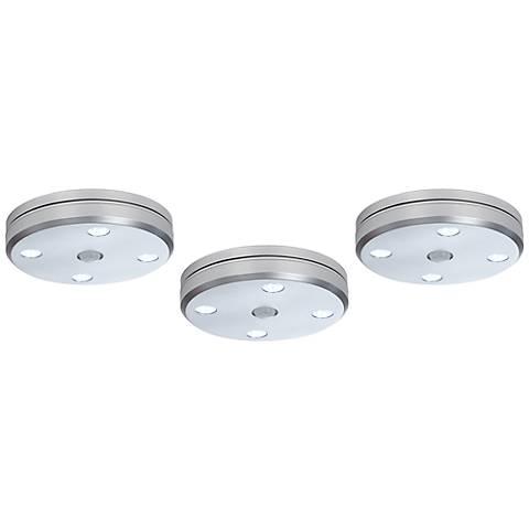 Brushed Steel Motion Sensor LED Puck Light 3-Pack