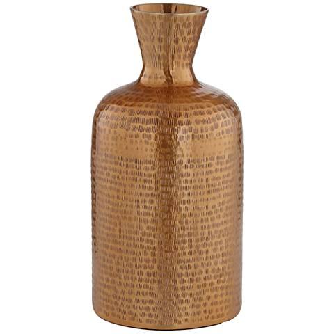 """Eldora 12 1/2"""" High Copper Hammered Metal Vase"""
