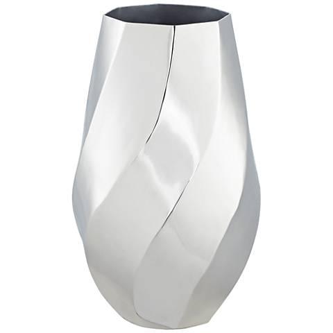 "Decorative Silver Swirl 13"" High Vase"
