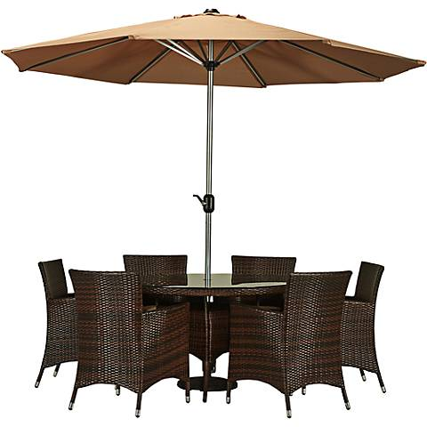 Caso Dark Brown Wicker 8-Piece Outdoor Dining Set
