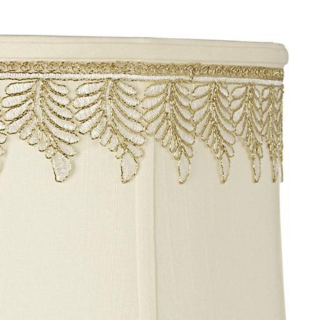 Metallic White-Gold Embroidered Leaf Shade Trim - 3 Yards
