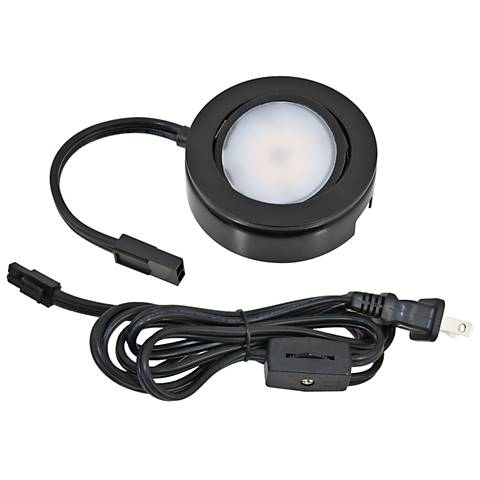 MVP Black Under Cabinet LED Single Puck Light Plug-In Kit
