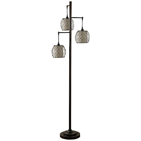 Adona bronze metal cage floor lamp 8f093 lamps plus for Off set floor lamp