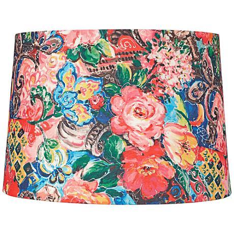 Floral Digital Print Drum Lamp Shade 14x16x11 (Spider)
