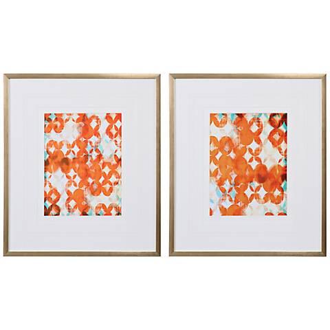 "Uttermost Teal and Orange 2-Piece 27 3/4"" High Wall Art Set"