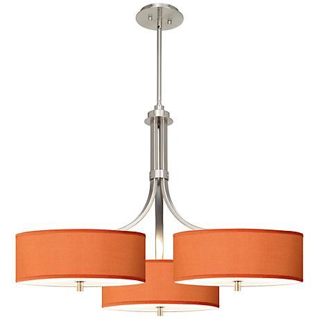 """Orange Faux Silk 36"""" Wide Triple Shade Pendant"""