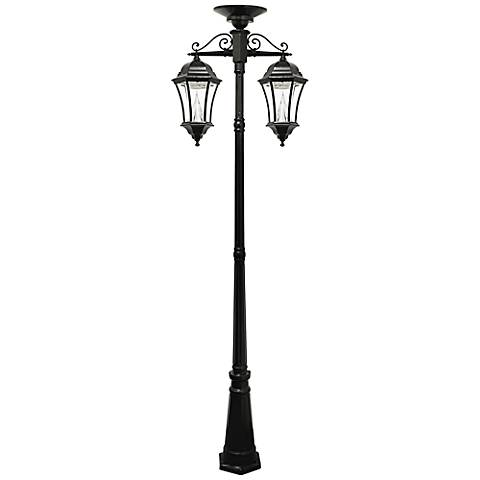 "Victorian 90"" High Black 2-Light Solar LED Post Light"