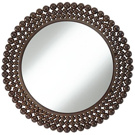 "Lompico Rust Metal Beads 24"" Round Wall Mirror"