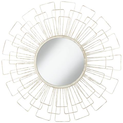 "Adelino Distressed White 33 1/2"" Round Sunburst Wall Mirror"