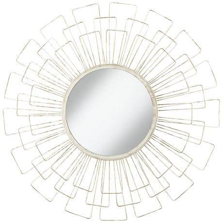 Adelino distressed white 33 1 2 round sunburst wall for White round wall mirror