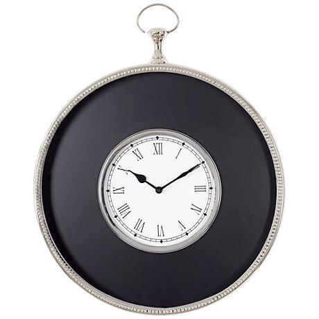 "Curran Black and Nickel Pocket Watch 19"" High Wall Clock"