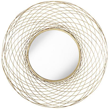 """Villarasca Gold Wire 36"""" Round Sunburst Wall Mirror"""