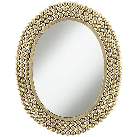 """Salino Gold Leaf 23"""" x 29 1/2"""" Oval Wall Mirror"""