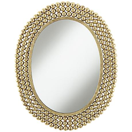 "Salino Gold Leaf 23"" x 29 1/2"" Oval Wall Mirror"