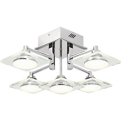 "Elan Firois 19"" Wide 5-Light LED Chrome Ceiling Light"
