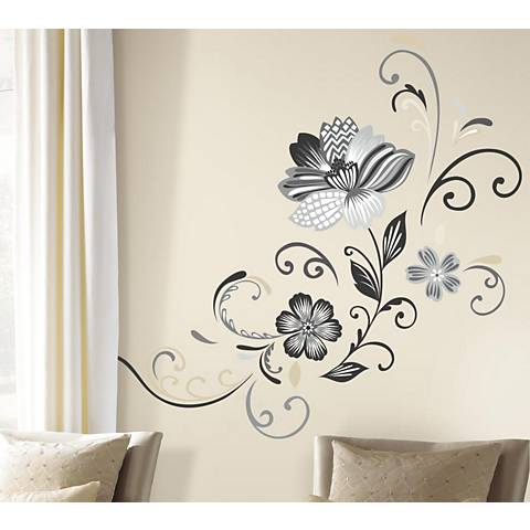 Black and White Flower Scroll Peel and Stick Wall Decal Set