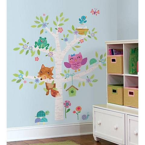 Woodland Baby Birch Tree Peel and Stick Wall Decal Set