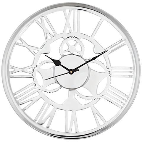 "Millner Polished Aluminum Openwork 14"" Round Wall Clock"