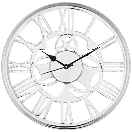 "Millner Polished Aluminum Openwork 14"" Round Wall Clock"
