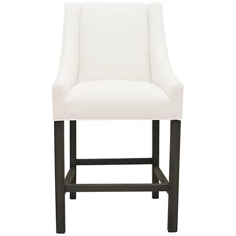 """Avoca White Linen 30"""" Wood Barstool"""