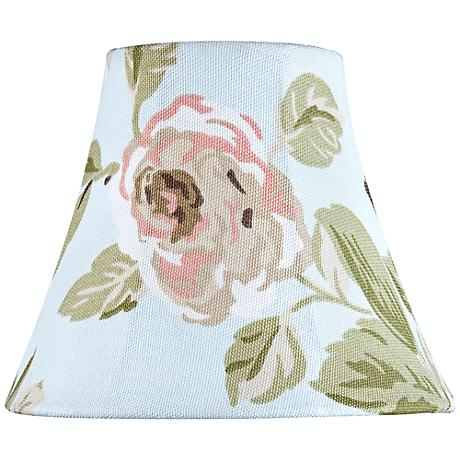 Pink Rose Print Bell Lamp Shade 3x6x5 (Clip-On)