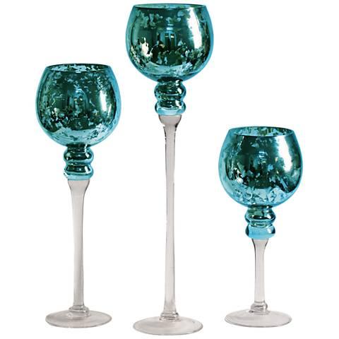 Turquoise Blue Stem 3-Piece Mercury Glass Vase Set
