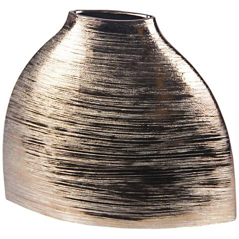 Modern Gold Ribbed Ceramic Vase