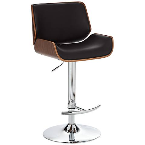 Santi Walnut and Chocolate Brown Adjustable Barstool