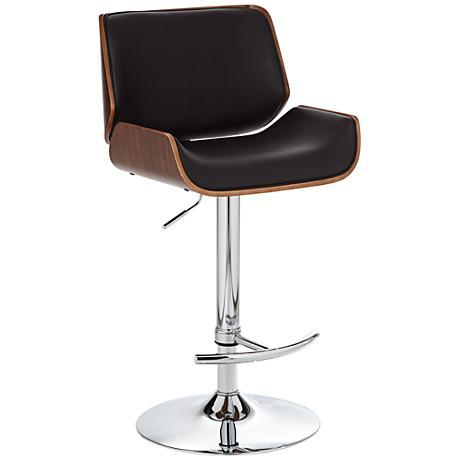 Santi Walnut and Chocolate Brown Adjustable Barstool