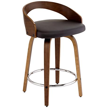 chocolate faux leather and walnut counter stool 8f703 lamps plus. Black Bedroom Furniture Sets. Home Design Ideas