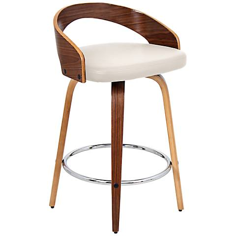 """Gratto 24"""" Cream Faux Leather and Walnut Counter Stool"""