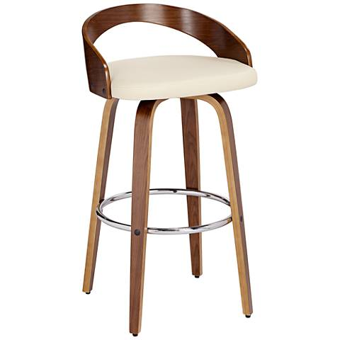 "Gratto 29 1/4"" Cream Faux Leather and Walnut Swivel Barstool"
