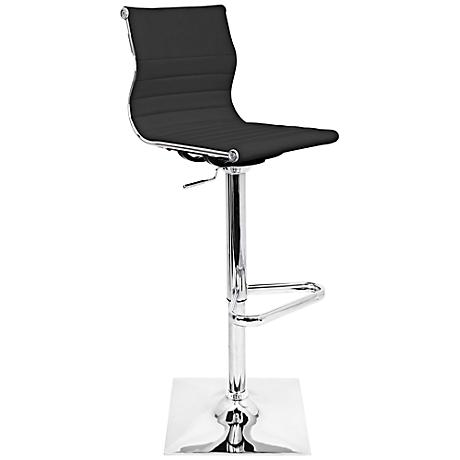 Master Black Faux Leather and Chrome Adjustable Barstool