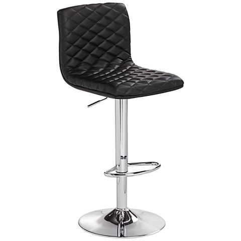 Caviar Chrome and Black Faux Leather Adjustable Barstool