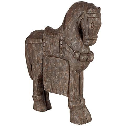 """Trojan Horse 16 3/4"""" High Decorative Statue"""