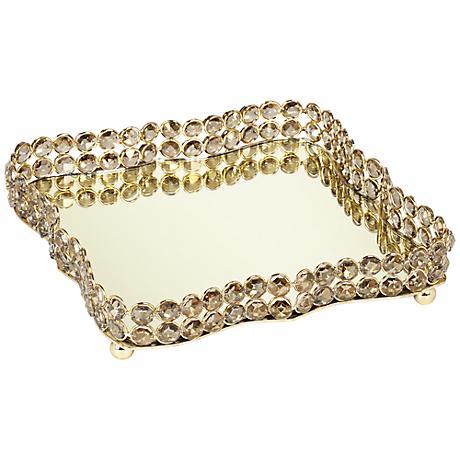 Geneva Mirror and Crystal Decorative Tray