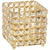 "Aura 5 1/2"" High Square Crystal Candle Holder"