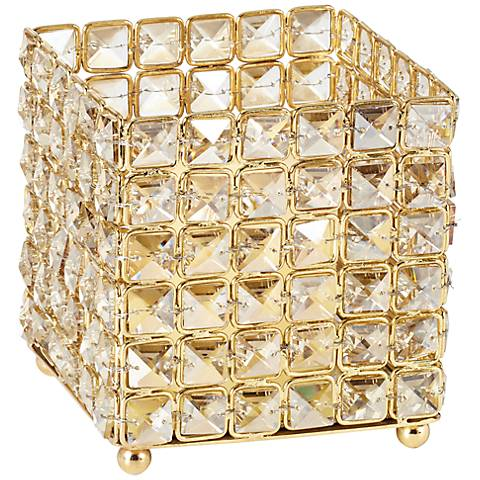 """Aura 5 1/2"""" High Square Crystal Candle Holder"""