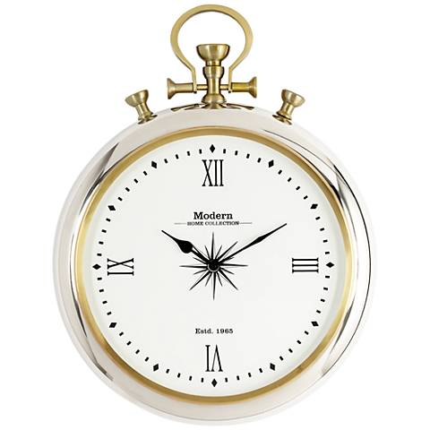 "Belridge Chrome Pocket Watch 22"" High Wall Clock"