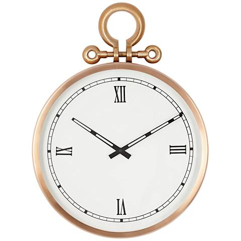 "Labette Copper Pocket Watch 20"" High Wall Clock"