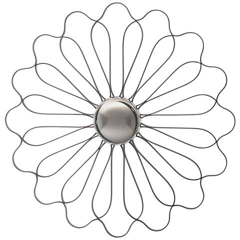 "Chrysanthemum Pewter Gray 30"" Round Convex Wall Mirror"