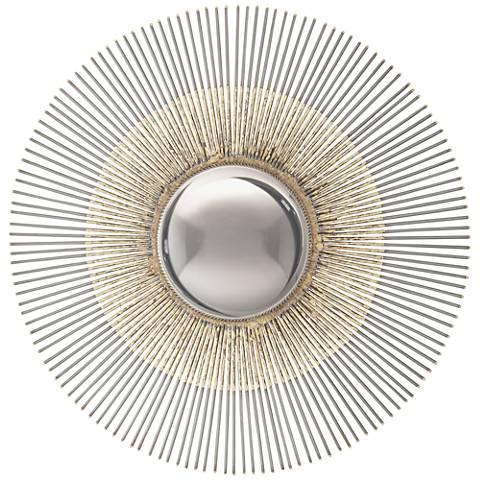 "Elloree Gray 18"" Round Sunburst Convex Wall Mirror"