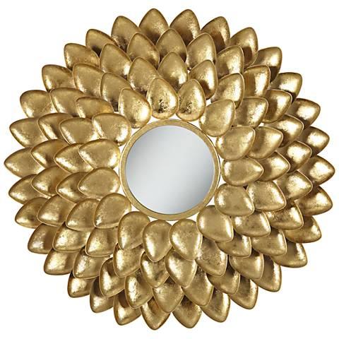 """Tierra Dorada Gold Dahlia 27"""" Round Accent Mirror"""