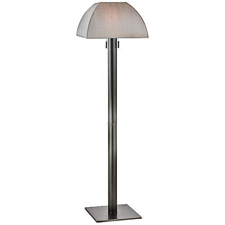 Hudson Valley Old Bronze Floor Lamp with Silver Silk Shade