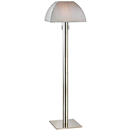 Alba Polished Nickel Floor Lamp with Silver Silk Shade