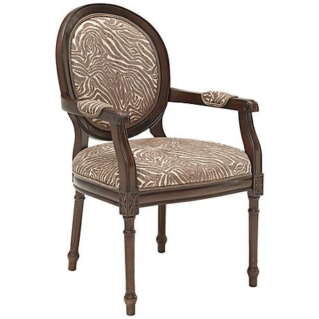 Cascade Animal Print Fabric and Cowie Espresso Accent Chair
