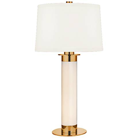 Thayer Large Aged Brass Table Lamp with White Shade