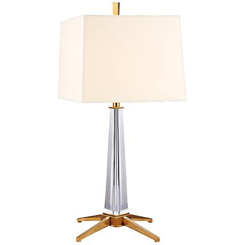Hindeman Aged Brass Table Lamp with White Shade