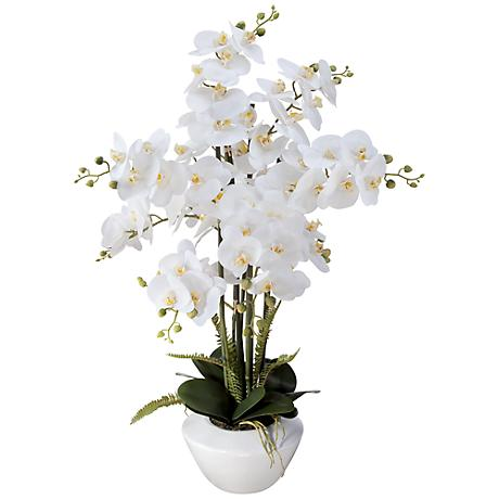 "White Phalaenopsis 29""H Faux Floral Arrangement in White Pot"