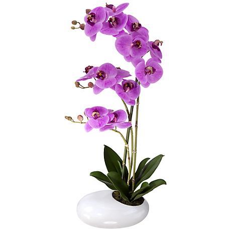"Fuchsia Phalaenopsis 21""H Faux Floral in White Pot"